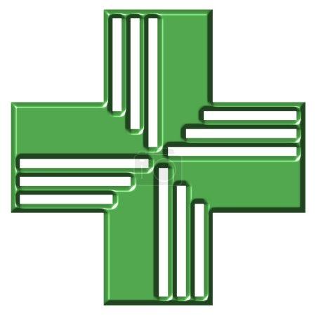 Photo pour Croix de pharmacie isolée en blanc - image libre de droit