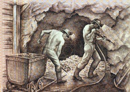 Photo pour Mineurs sur 5000 soles de oro Billet de 1985 du Pérou - image libre de droit