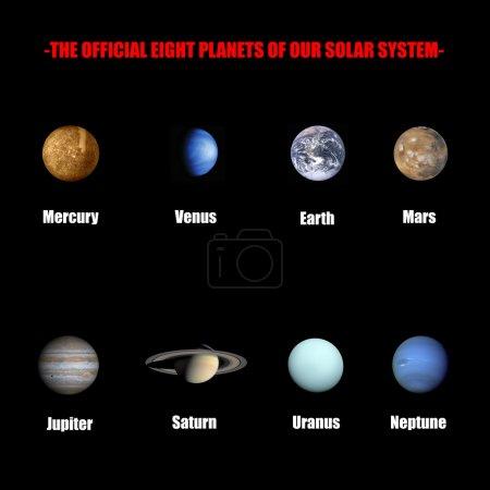 Photo pour L'officiels huit planètes de notre système solaire isolé en noir - image libre de droit