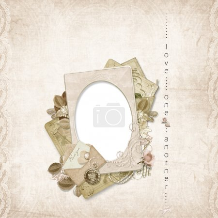 Vintage frame on shabby background