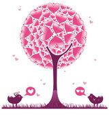 Valentine decorative tree on white background
