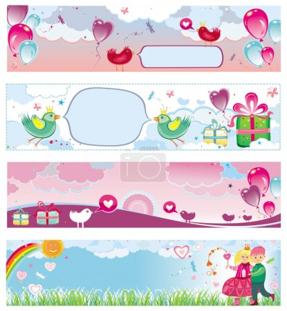 Set of Valentine's day banners 3