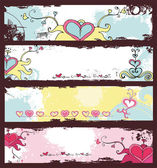 Vector set of 4 Grunge banners with hand drawn hearts for Valentine's day With space for your text