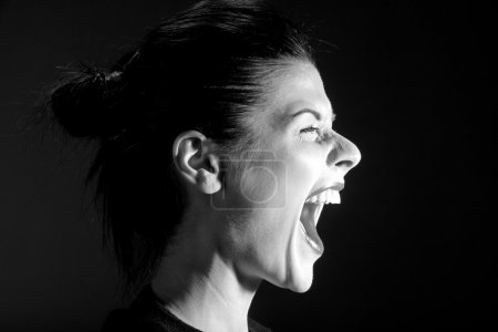 Photo for The black-and-white image of the shouting girl - Royalty Free Image