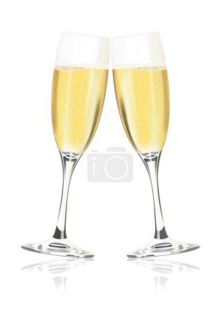 Illustration pour Verres à champagne vectoriels sur fond blanc - image libre de droit