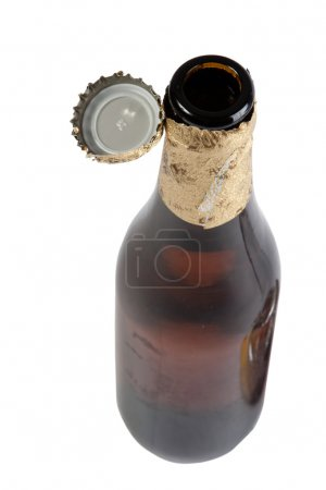 Open beer bottle with cover