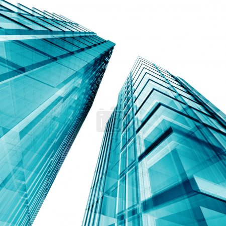 Photo for Blue skyscrapers. My personal concept architectural project - Royalty Free Image