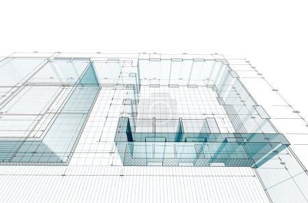 Photo pour Plan 3D. Mon projet architectural personnel (concept ) - image libre de droit
