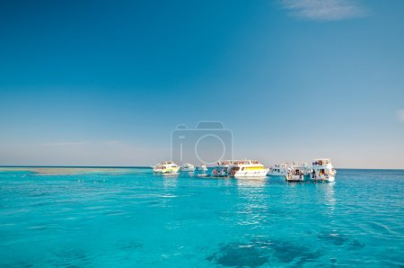 Yachts in blue lagoon