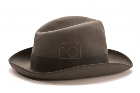 Photo for Overcoat, outer clothing: male brown hat over white background - Royalty Free Image