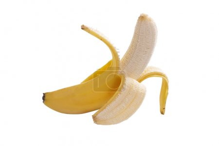 Photo for A peeled banana on white background with clipping path - Royalty Free Image