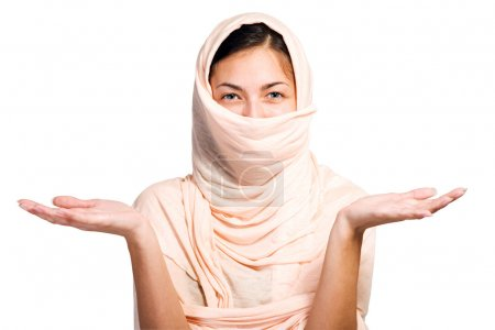 Arabian girl in peach color shawl