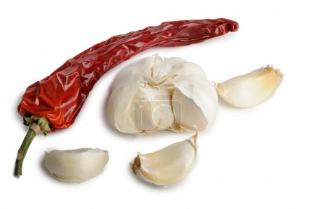 Dried red hot chili pepper with garlic