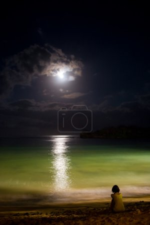 Photo for Night ocean with moon and moonlight reflection on water. Solitude. - Royalty Free Image
