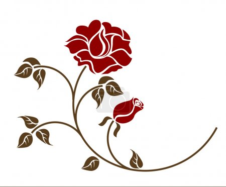 Illustration for Red roses over white backgroud. Vector EPS 8 - Royalty Free Image
