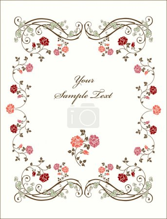 Illustration for Retro frame with roses. - Royalty Free Image