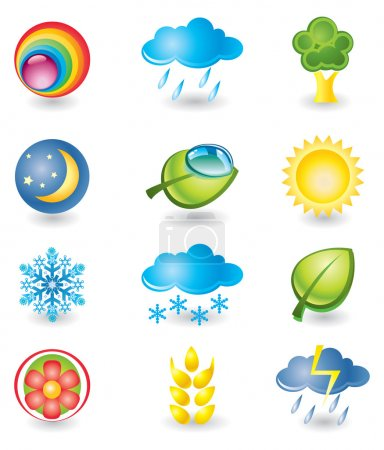 Illustration for Set of design elements. Nature and weather - Royalty Free Image