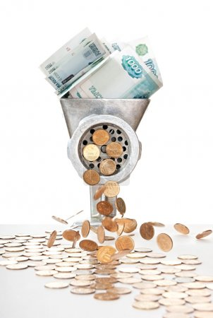 Photo pour Inflation. millièmes de billets et les pièces de dix kopeck. - image libre de droit