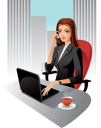 Illustration for Illustration of business woman in office, vector - Royalty Free Image