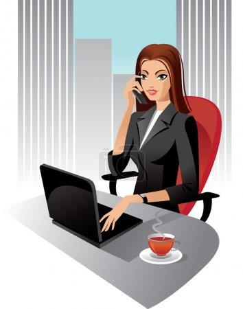 Illustration pour Illustration de femme d'affaires au bureau, vector - image libre de droit