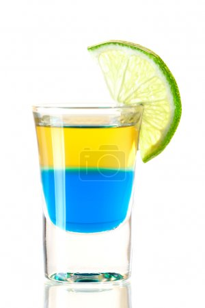 Photo for Shot cocktail collection: Blue Tequila alcohol cocktail isolated on white background. Ingredients: 1 oz Blue Curacao, 1 oz Gold Tequila - Royalty Free Image