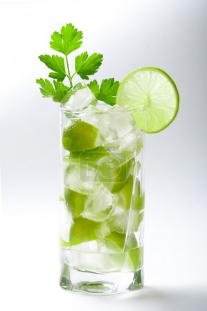 Fresh lime cocktail with ice