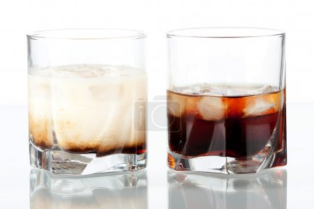Black russian and white russian cocktail