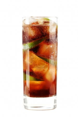 Photo for Cuba libre alcohol cocktail isolated on white. Ingredients: 1 oz white on black rum, 2 oz cola, 1 fresh lime and ice - Royalty Free Image