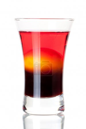 Photo for Shot cocktail collection: Morning alcohol cocktail isolated on white background. Ingredients: 1 oz Kahlua, 1 raw yellow egg, 1 oz cranberry vodka - Royalty Free Image
