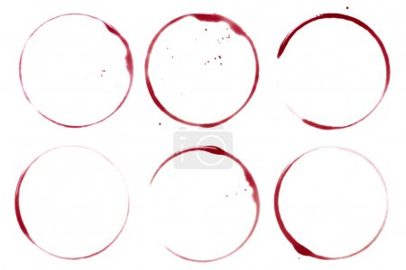 Photo for Wine collection - stains and spots. On white background - Royalty Free Image