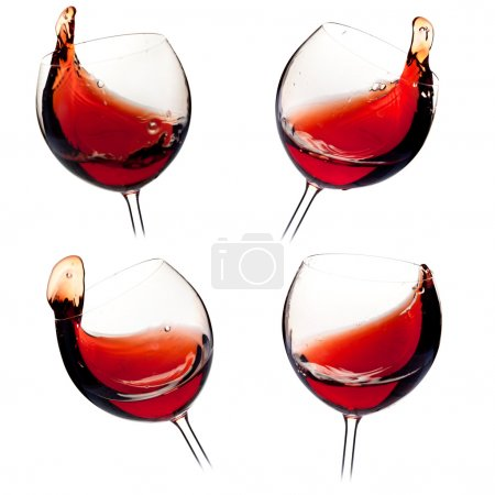 Photo for Wine collection - Various wine splashes. Isolated on white background - Royalty Free Image