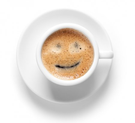 Coffee collection - Espresso Cup with smile. Isola...