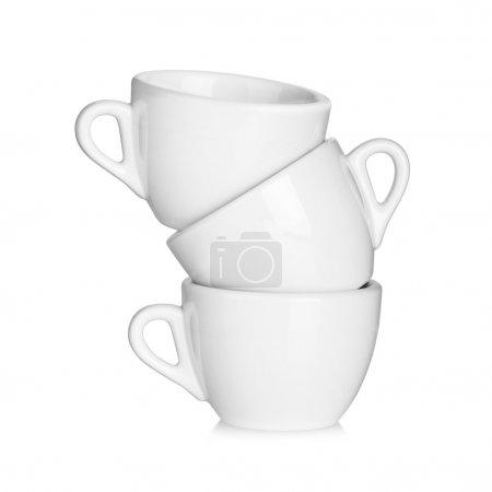 Three white coffee cups