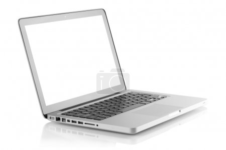 Photo for Laptop with blank white screen. Isolated on white background - Royalty Free Image