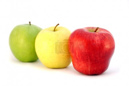 Three apples different colors looks like