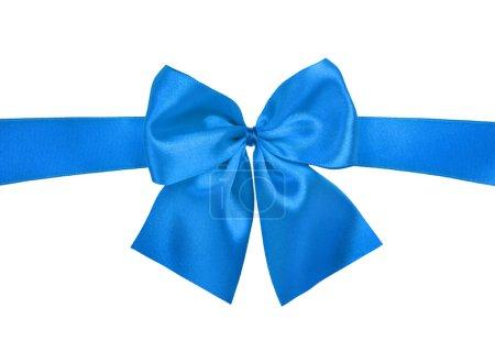Blue gift satin ribbon bow on white back