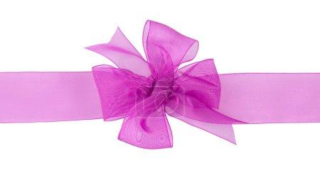 Pink gift chiffon ribbon bow on white ba