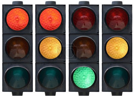 Photo for Isolated traffic light in all combinations. Cut and use. - Royalty Free Image