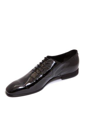 Black glossy leather men shoe