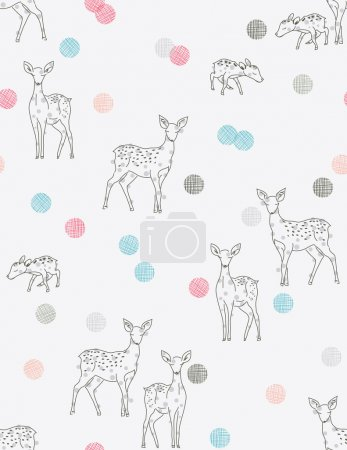 Illustration for Vector seamless pattern featuring baby deer line art and contemporary polka dots. - Royalty Free Image