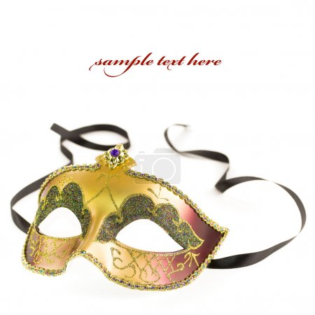 Photo pour Masque de carnaval sur fond blanc (avec un texte d'exemple) - image libre de droit