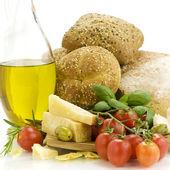 Постер Свежий хлеб зелень и овощи