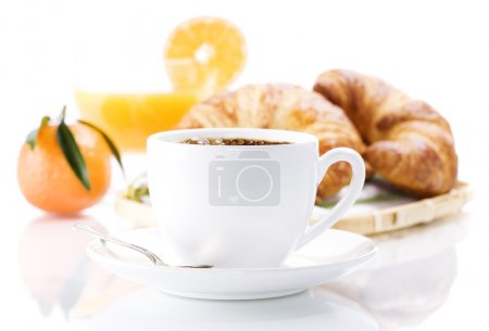 Photo for Breakfast with croissants, coffee and orange juice. - Royalty Free Image