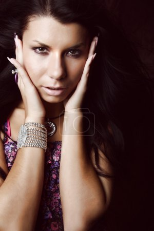 Young beautiful brunette Caucasian girl.