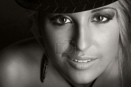 Portret of beautiful woman. Retro photo.