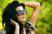 Beautiful young black hair woman