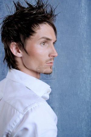 Handsome man on a blue background.