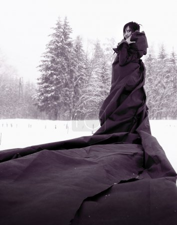 Photo pour Mystérieuse jeune fille dans une robe longue noire se tenant debout sur neige. - image libre de droit