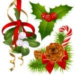 Christmas tree, mistletoe and holly...