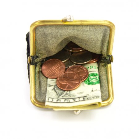 Money. Purse with one dollar and coins